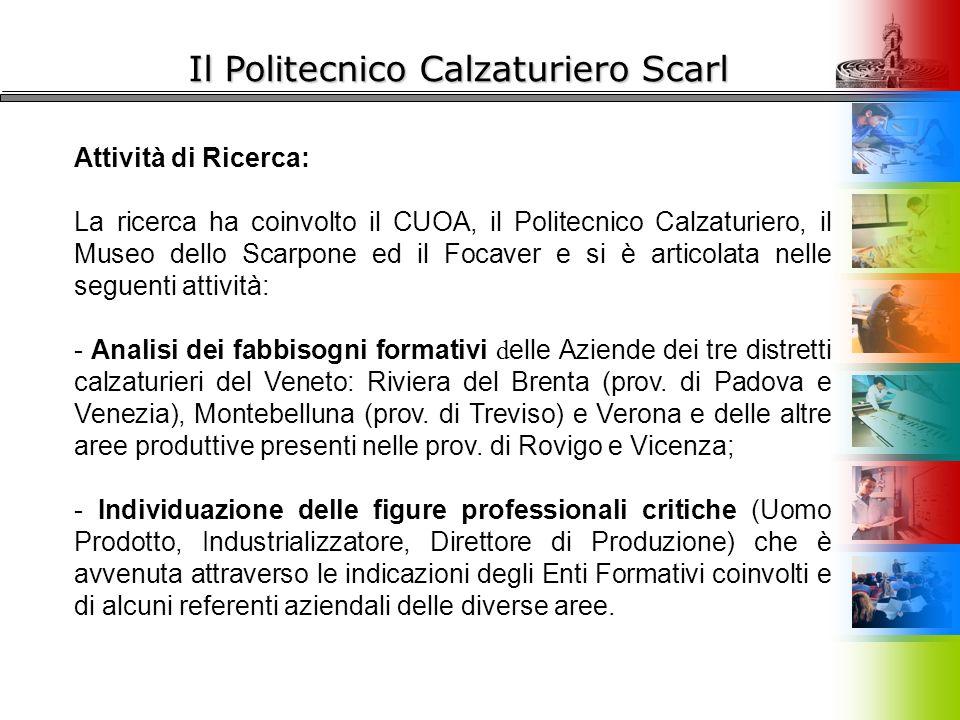 Il Politecnico Calzaturiero Scarl Attività di Ricerca: La ricerca ha coinvolto il CUOA, il Politecnico Calzaturiero, il Museo dello Scarpone ed il Foc
