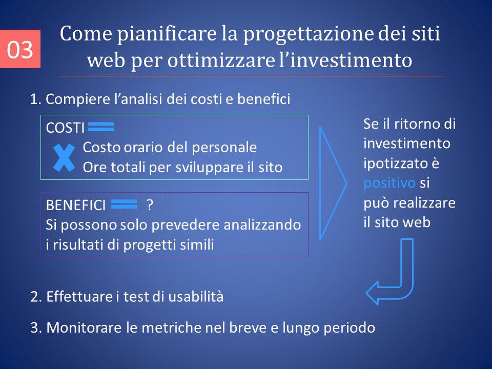 1. Compiere l'analisi dei costi e benefici 03 2. Effettuare i test di usabilità 3.