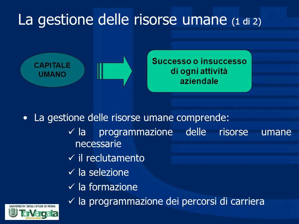 La gestione delle risorse umane (1 di 2) La gestione delle risorse umane comprende: la programmazione delle risorse umane necessarie il reclutamento l