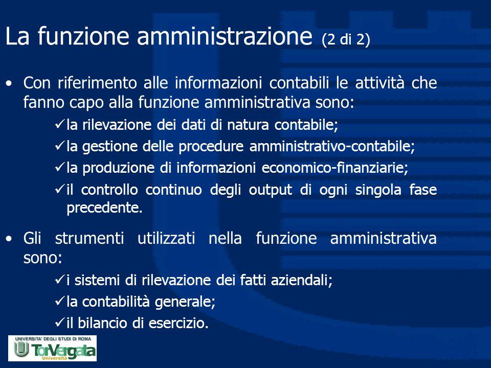 La funzione amministrazione (2 di 2) Con riferimento alle informazioni contabili le attività che fanno capo alla funzione amministrativa sono: la rile