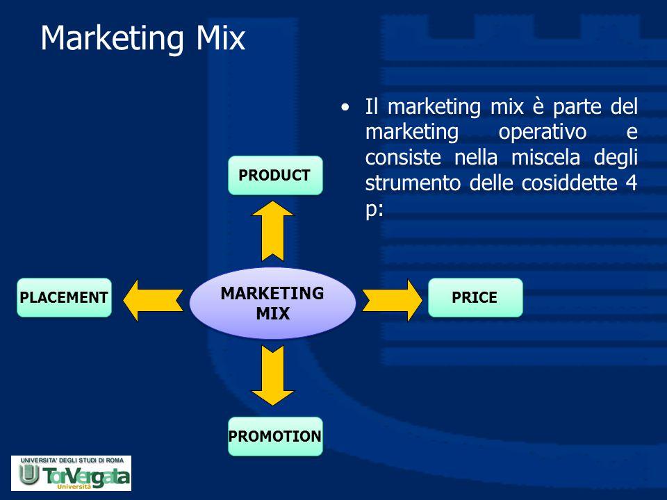 Marketing Mix Il marketing mix è parte del marketing operativo e consiste nella miscela degli strumento delle cosiddette 4 p: MARKETING MIX PRODUCT PL