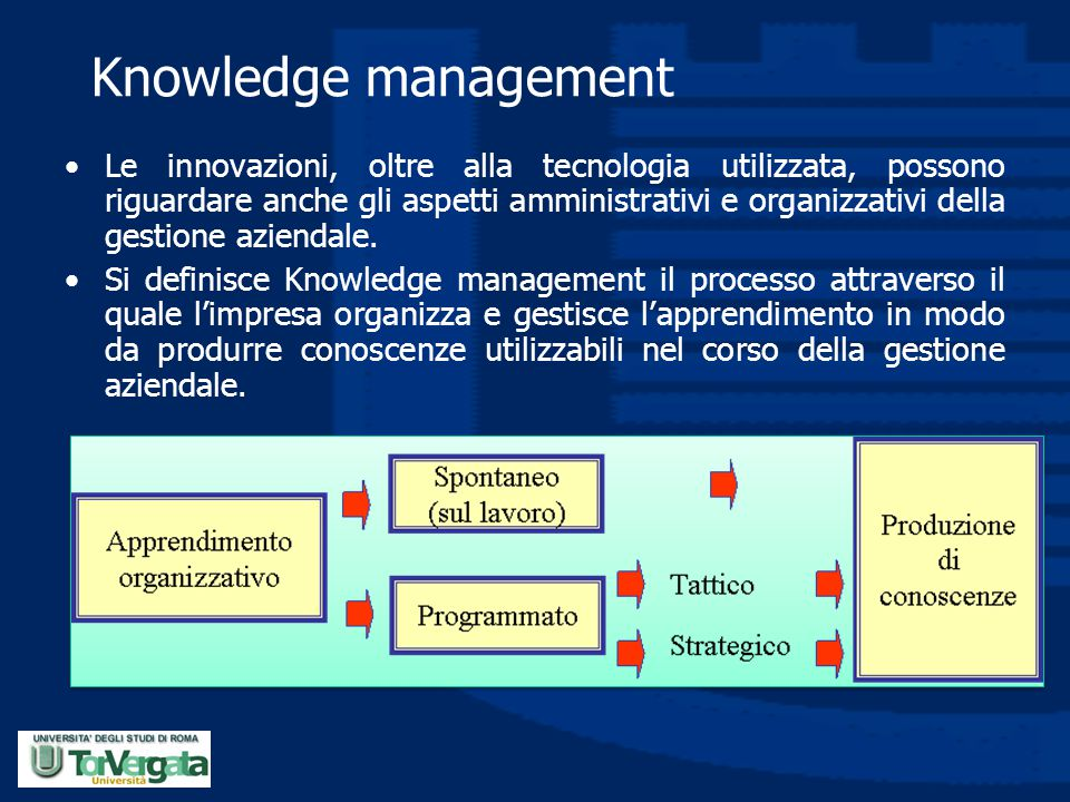Knowledge management Le innovazioni, oltre alla tecnologia utilizzata, possono riguardare anche gli aspetti amministrativi e organizzativi della gesti