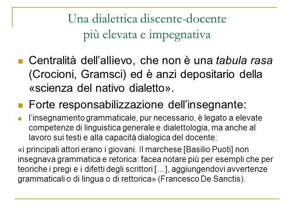 Una dialettica discente-docente più elevata e impegnativa Centralità dell'allievo, che non è una tabula rasa (Crocioni, Gramsci) ed è anzi depositario