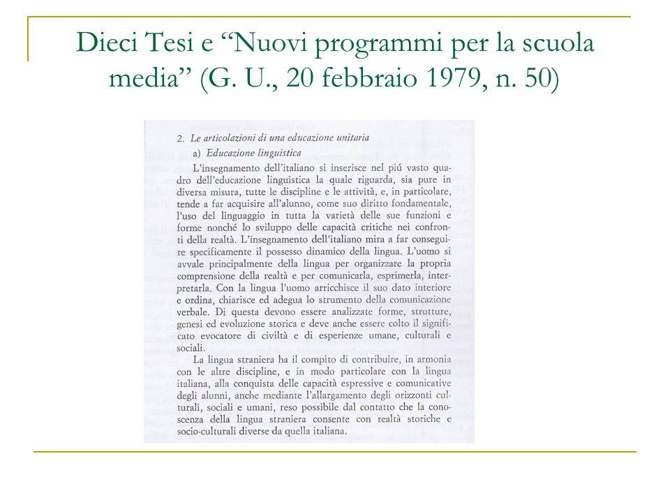 """Dieci Tesi e """"Nuovi programmi per la scuola media"""" (G. U., 20 febbraio 1979, n. 50)"""