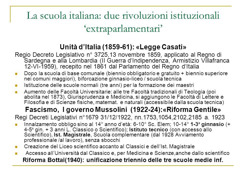 La scuola italiana: due rivoluzioni istituzionali 'extraparlamentari' Unità d'Italia (1859-61): «Legge Casati» Regio Decreto Legislativo n° 3725,13 no