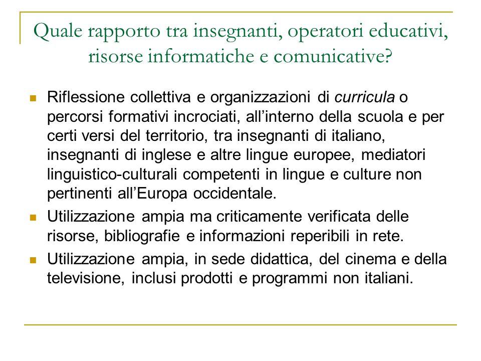Quale rapporto tra insegnanti, operatori educativi, risorse informatiche e comunicative? Riflessione collettiva e organizzazioni di curricula o percor