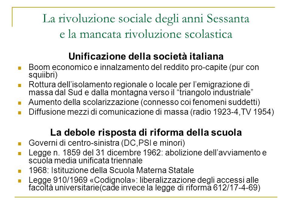 La rivoluzione sociale degli anni Sessanta e la mancata rivoluzione scolastica Unificazione della società italiana Boom economico e innalzamento del r