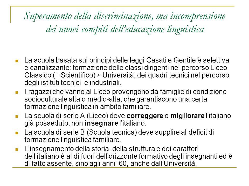 Superamento della discriminazione, ma incomprensione dei nuovi compiti dell'educazione linguistica La scuola basata sui principi delle leggi Casati e