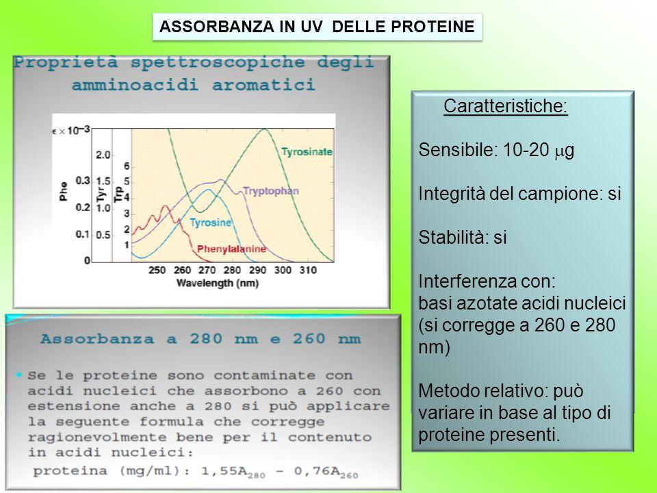 ASSORBANZA IN UV DELLE PROTEINE Caratteristiche: Sensibile: 10-20  g Integrità del campione: si Stabilità: si Interferenza con: basi azotate acidi nu