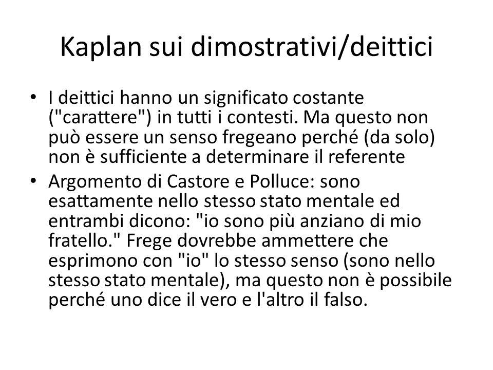 Kaplan sui dimostrativi/deittici I deittici hanno un significato costante (