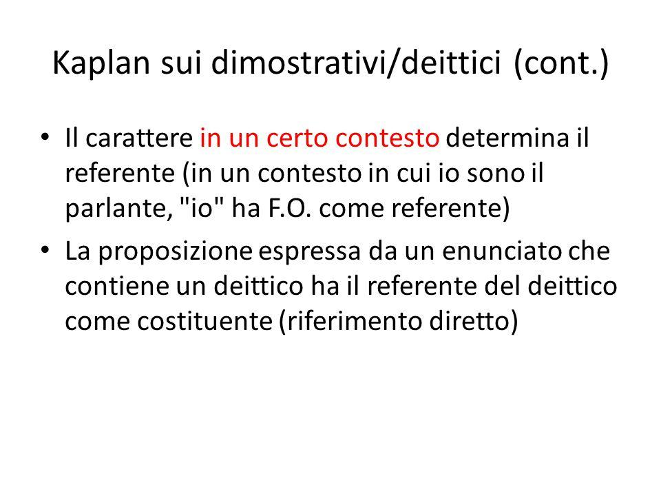 Kaplan sui dimostrativi/deittici (cont.) Il carattere in un certo contesto determina il referente (in un contesto in cui io sono il parlante,