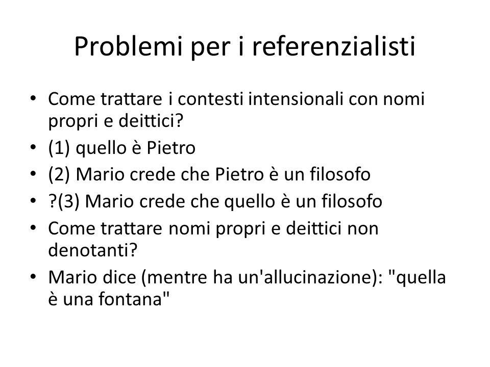 Problemi per i referenzialisti Come trattare i contesti intensionali con nomi propri e deittici? (1) quello è Pietro (2) Mario crede che Pietro è un f