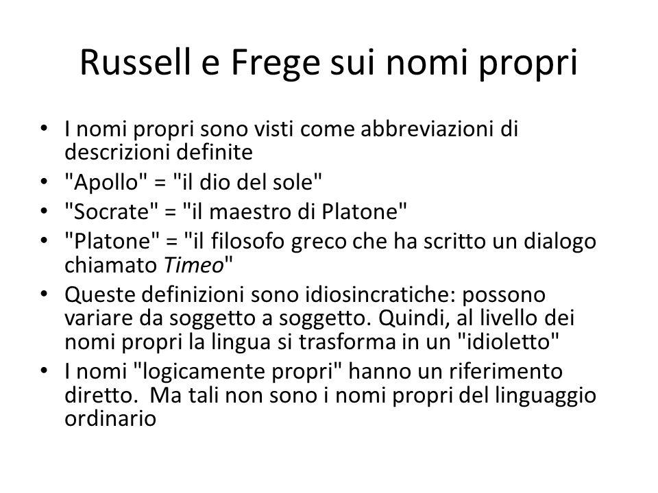 Russell e Frege sui nomi propri I nomi propri sono visti come abbreviazioni di descrizioni definite