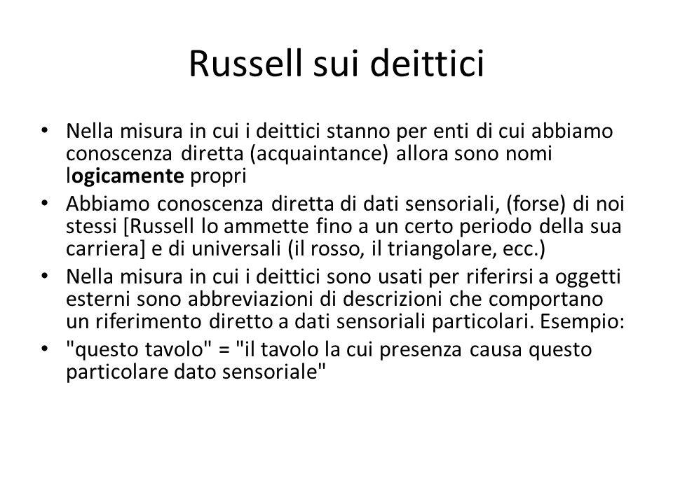 Russell sui deittici Nella misura in cui i deittici stanno per enti di cui abbiamo conoscenza diretta (acquaintance) allora sono nomi logicamente prop