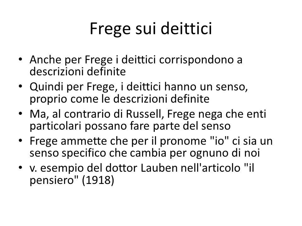 Frege sui deittici Anche per Frege i deittici corrispondono a descrizioni definite Quindi per Frege, i deittici hanno un senso, proprio come le descri
