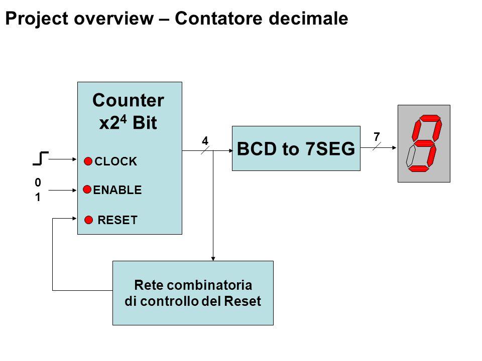 BCD to 7SEG Rete combinatoria di controllo del Reset ENABLE RESET Counter x2 4 Bit 4 7 0101 CLOCK Project overview – Contatore decimale