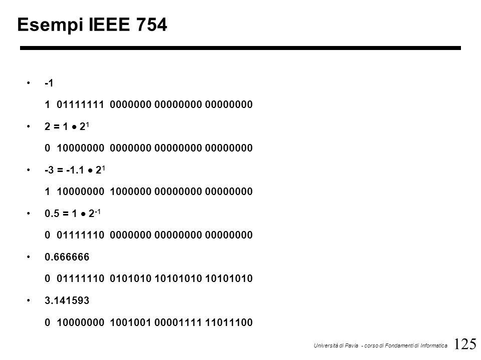 125 Università di Pavia - corso di Fondamenti di Informatica Esempi IEEE 754 1 01111111 0000000 00000000 00000000 2 = 1  2 1 0 10000000 0000000 00000