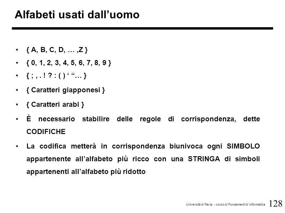 128 Università di Pavia - corso di Fondamenti di Informatica Alfabeti usati dall'uomo { A, B, C, D, …,Z } { 0, 1, 2, 3, 4, 5, 6, 7, 8, 9 } { ;,. ! ? :