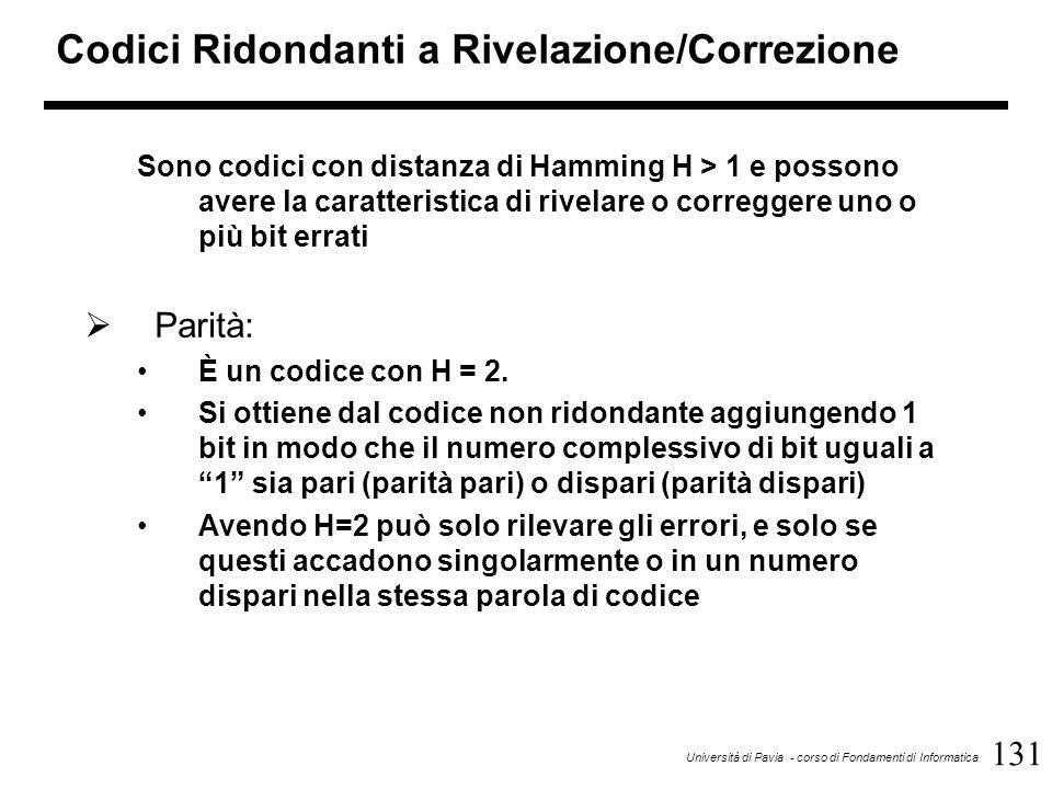131 Università di Pavia - corso di Fondamenti di Informatica Codici Ridondanti a Rivelazione/Correzione Sono codici con distanza di Hamming H > 1 e po
