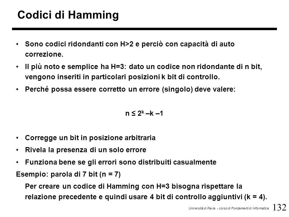 132 Università di Pavia - corso di Fondamenti di Informatica Codici di Hamming Sono codici ridondanti con H>2 e perciò con capacità di auto correzione