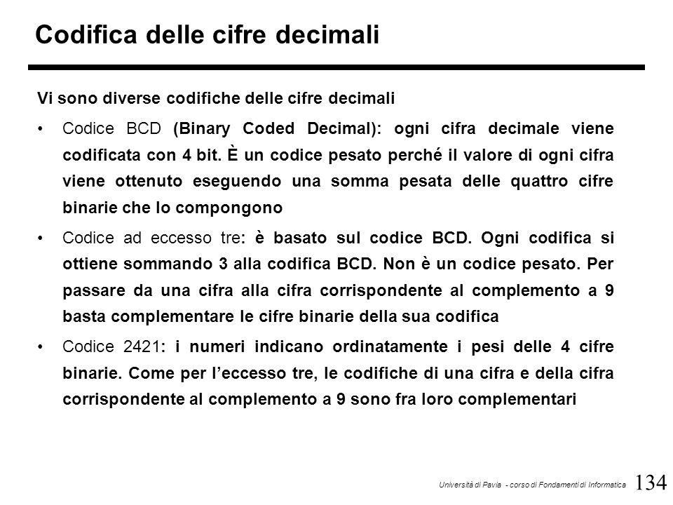 134 Università di Pavia - corso di Fondamenti di Informatica Codifica delle cifre decimali Vi sono diverse codifiche delle cifre decimali Codice BCD (
