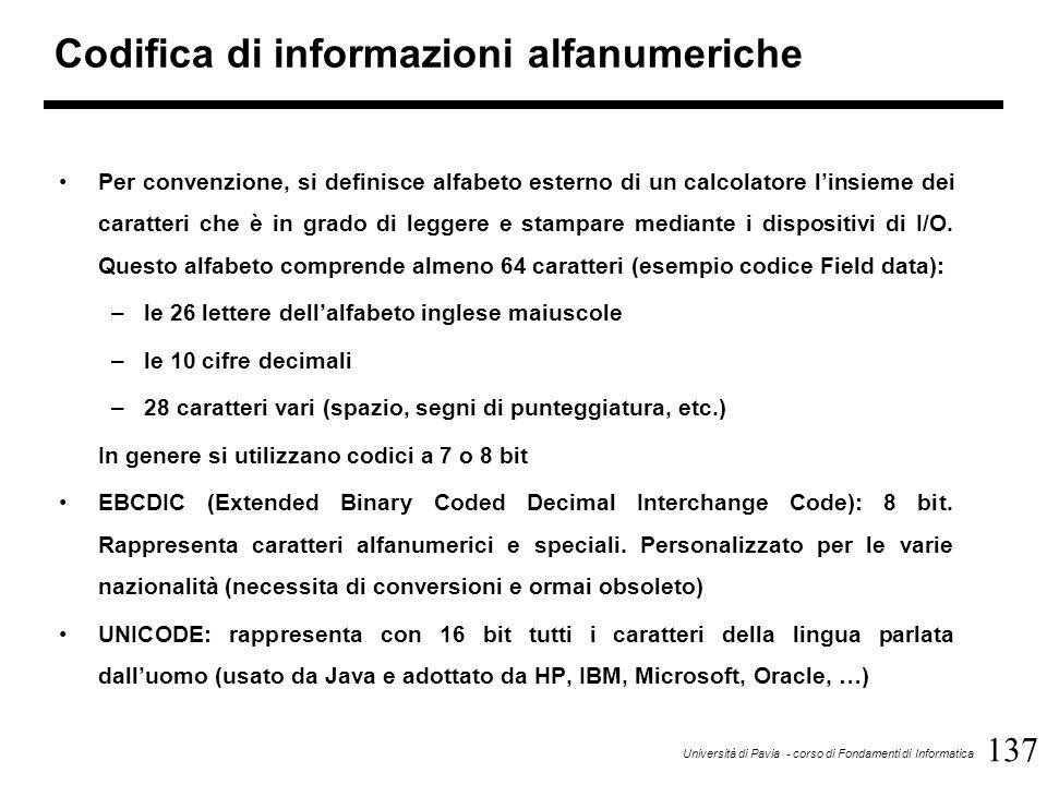 137 Università di Pavia - corso di Fondamenti di Informatica Codifica di informazioni alfanumeriche Per convenzione, si definisce alfabeto esterno di