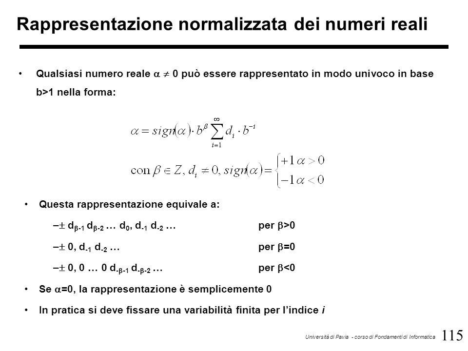115 Università di Pavia - corso di Fondamenti di Informatica Rappresentazione normalizzata dei numeri reali Qualsiasi numero reale   0 può essere ra