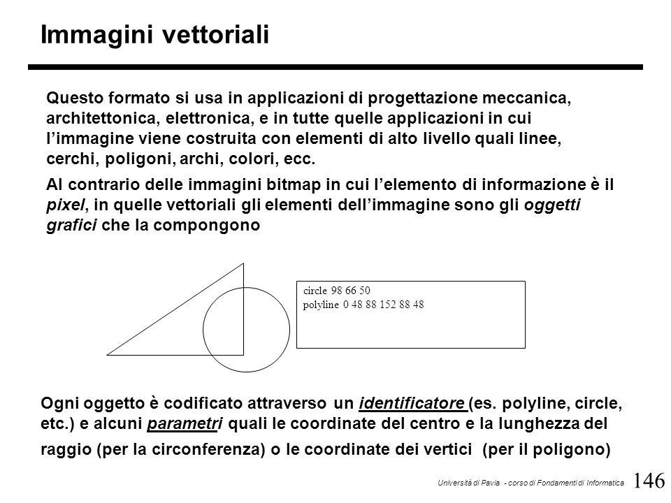 146 Università di Pavia - corso di Fondamenti di Informatica Immagini vettoriali Questo formato si usa in applicazioni di progettazione meccanica, arc