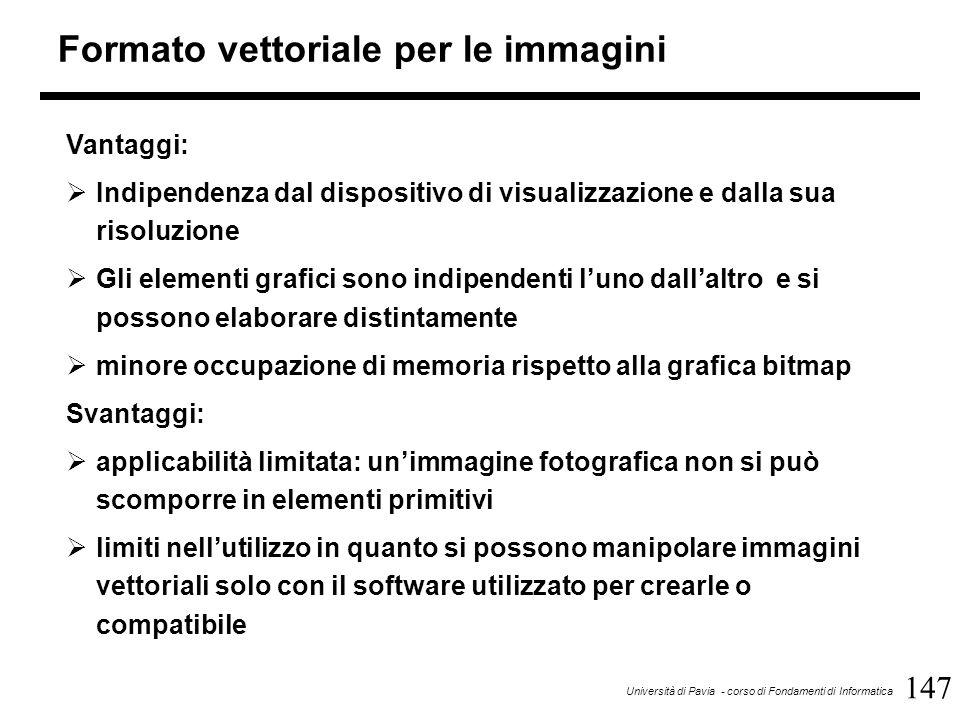 147 Università di Pavia - corso di Fondamenti di Informatica Formato vettoriale per le immagini Vantaggi:  Indipendenza dal dispositivo di visualizza