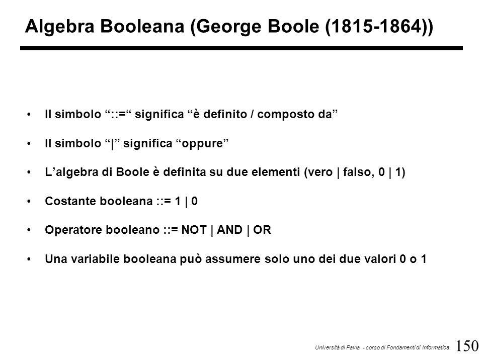 """150 Università di Pavia - corso di Fondamenti di Informatica Algebra Booleana (George Boole (1815-1864)) Il simbolo """"::="""" significa """"è definito / comp"""