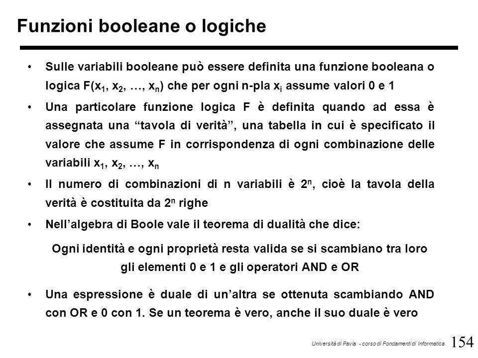 154 Università di Pavia - corso di Fondamenti di Informatica Funzioni booleane o logiche Sulle variabili booleane può essere definita una funzione boo