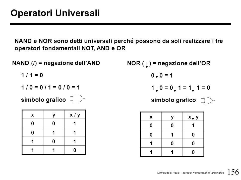 156 Università di Pavia - corso di Fondamenti di Informatica Operatori Universali NAND (/) = negazione dell'AND 1 / 1 = 0 1 / 0 = 0 / 1 = 0 / 0 = 1 si