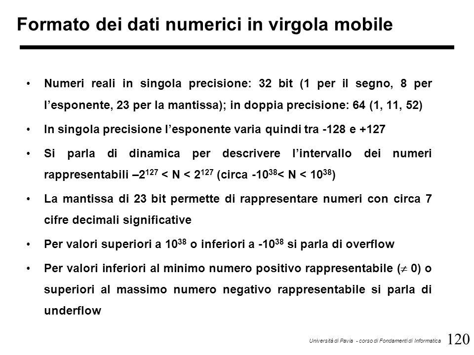 120 Università di Pavia - corso di Fondamenti di Informatica Formato dei dati numerici in virgola mobile Numeri reali in singola precisione: 32 bit (1