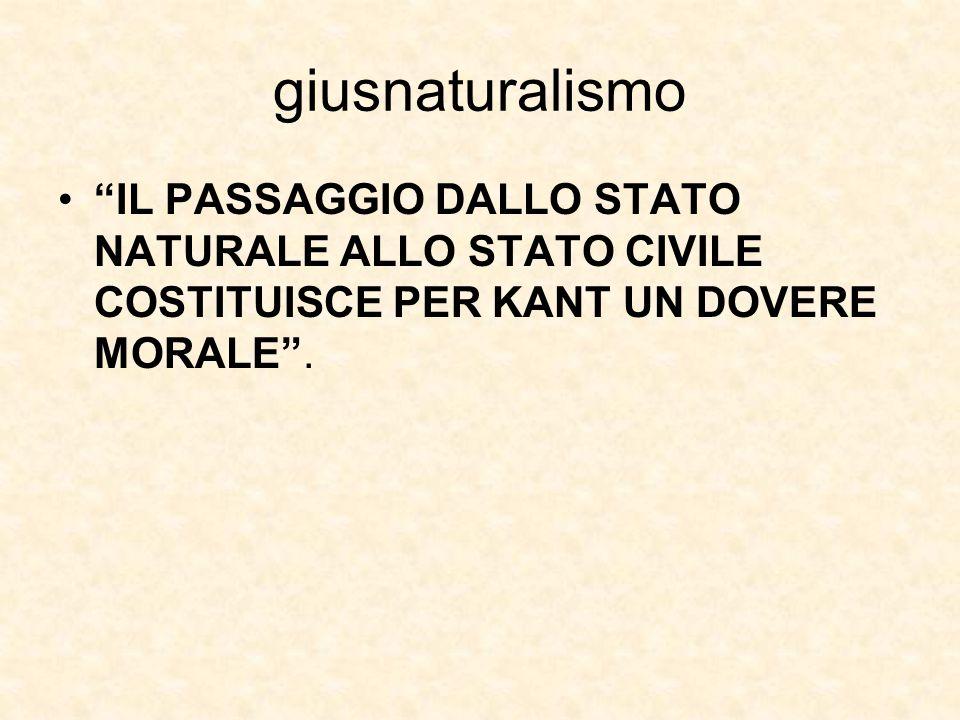 """giusnaturalismo """"IL PASSAGGIO DALLO STATO NATURALE ALLO STATO CIVILE COSTITUISCE PER KANT UN DOVERE MORALE""""."""