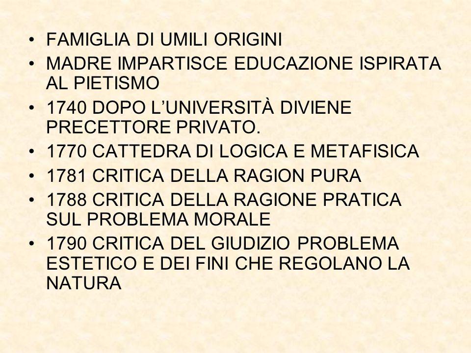 FAMIGLIA DI UMILI ORIGINI MADRE IMPARTISCE EDUCAZIONE ISPIRATA AL PIETISMO 1740 DOPO L'UNIVERSITÀ DIVIENE PRECETTORE PRIVATO. 1770 CATTEDRA DI LOGICA