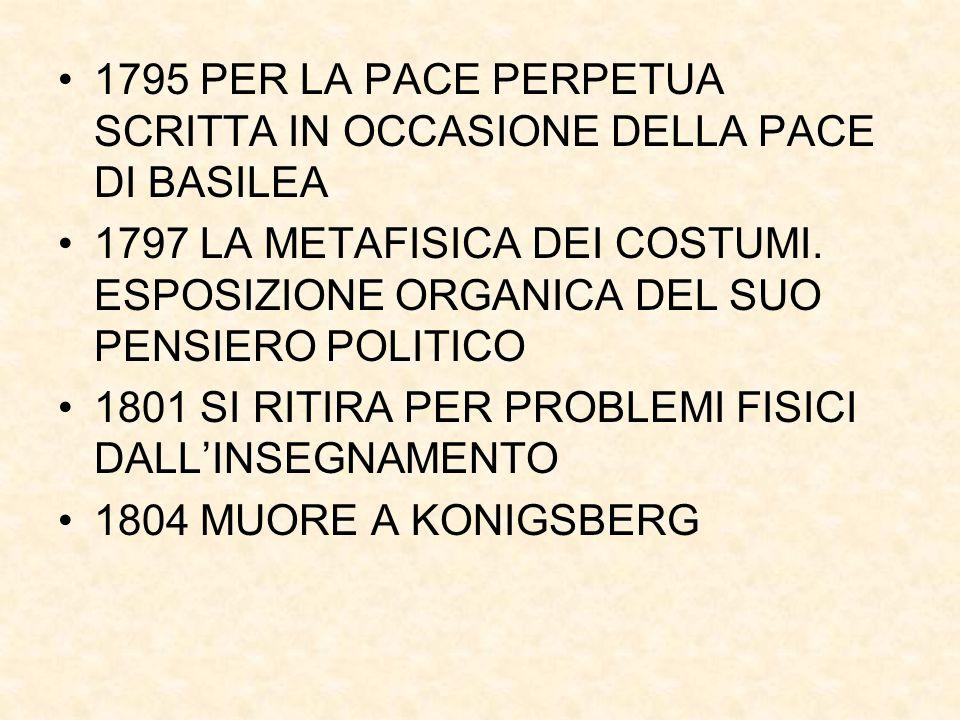 1795 PER LA PACE PERPETUA SCRITTA IN OCCASIONE DELLA PACE DI BASILEA 1797 LA METAFISICA DEI COSTUMI. ESPOSIZIONE ORGANICA DEL SUO PENSIERO POLITICO 18