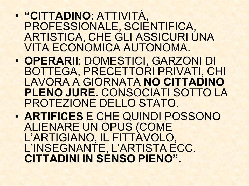 """""""CITTADINO: ATTIVITÀ, PROFESSIONALE, SCIENTIFICA, ARTISTICA, CHE GLI ASSICURI UNA VITA ECONOMICA AUTONOMA. OPERARII: DOMESTICI, GARZONI DI BOTTEGA, PR"""