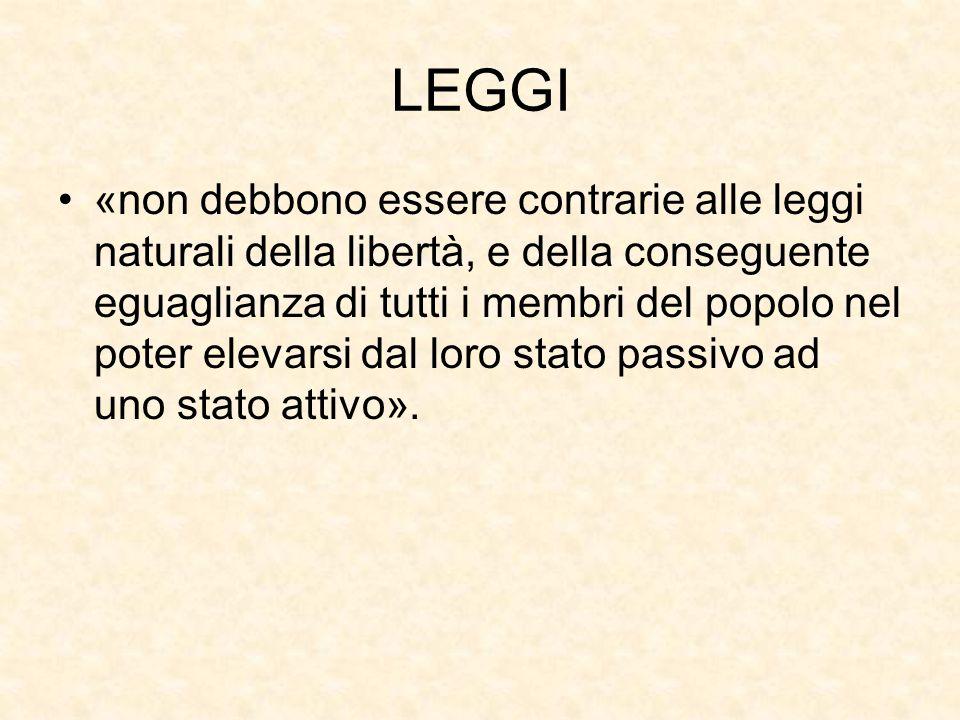 LEGGI «non debbono essere contrarie alle leggi naturali della libertà, e della conseguente eguaglianza di tutti i membri del popolo nel poter elevarsi