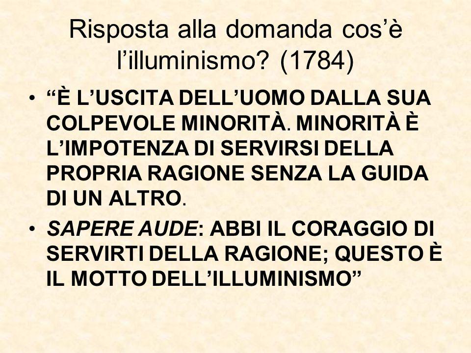 """Risposta alla domanda cos'è l'illuminismo? (1784) """"È L'USCITA DELL'UOMO DALLA SUA COLPEVOLE MINORITÀ. MINORITÀ È L'IMPOTENZA DI SERVIRSI DELLA PROPRIA"""