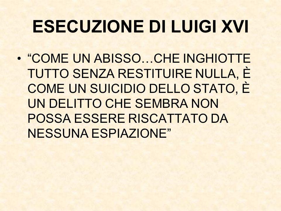 """ESECUZIONE DI LUIGI XVI """"COME UN ABISSO…CHE INGHIOTTE TUTTO SENZA RESTITUIRE NULLA, È COME UN SUICIDIO DELLO STATO, È UN DELITTO CHE SEMBRA NON POSSA"""