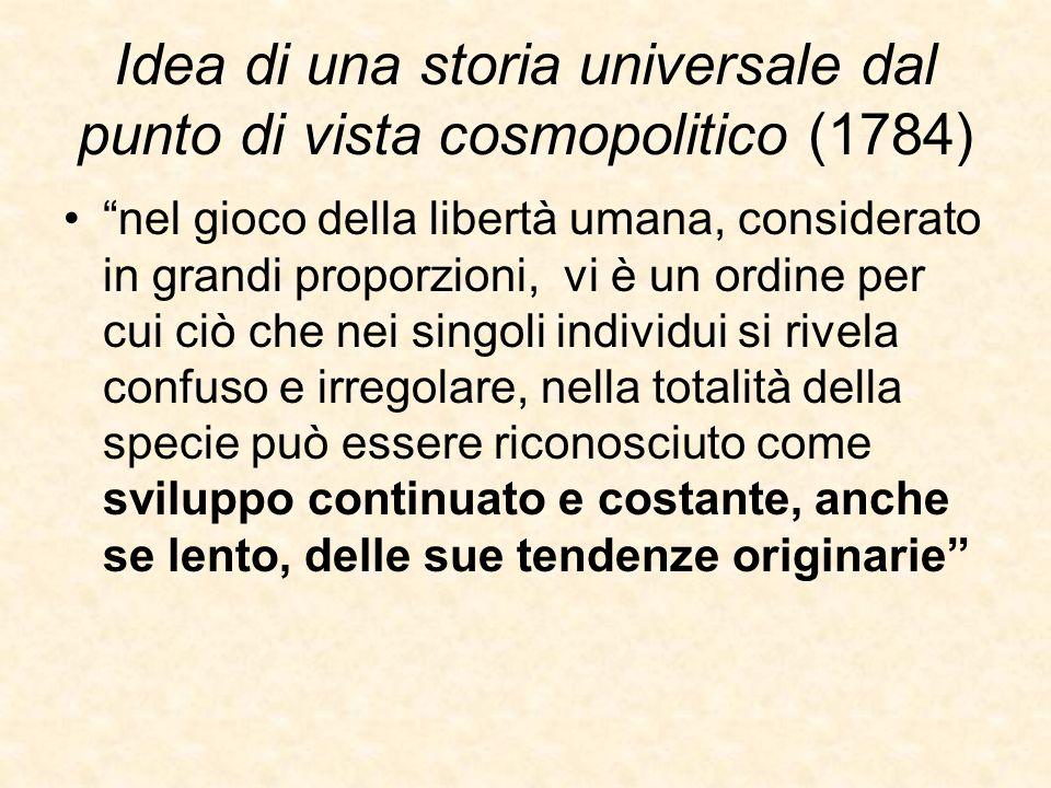 """Idea di una storia universale dal punto di vista cosmopolitico (1784) """"nel gioco della libertà umana, considerato in grandi proporzioni, vi è un ordin"""