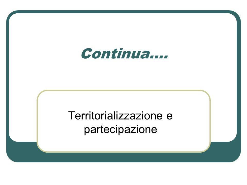 Continua…. Territorializzazione e partecipazione