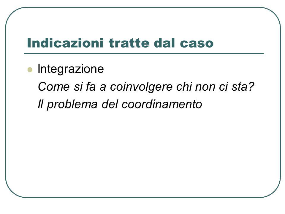 Indicazioni tratte dal caso Integrazione Come si fa a coinvolgere chi non ci sta.