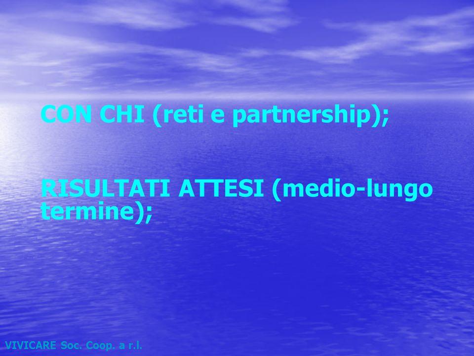 VIVICARE Soc. Coop. a r.l. CON CHI (reti e partnership); RISULTATI ATTESI (medio-lungo termine);