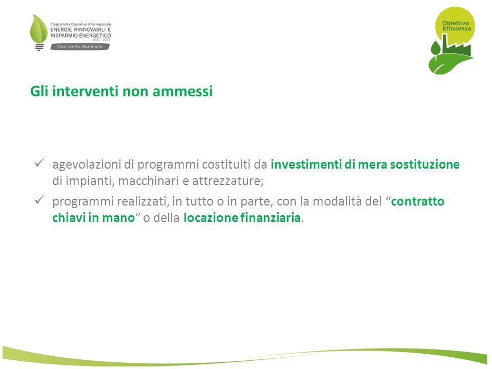 Le spese ammissibili Le spese che possono essere finanziate: a)Opere murarie (max 40% dell'investimento complessivo ammesso) a)Acquisto ed installazione di impianti, macchinari ed attrezzature (nuovi) a)Acquisto di prodotti software funzionali al monitoraggio dei consumi energetici (per le grandi imprese ammesso solo il 50% della spesa sostenuta) a)Servizi di consulenza (solo per le PMI e nei limiti del 10% dell'investimento complessivo ammesso) funzionali alla definizione di diagnosi energetiche e/o alla progettazione esecutiva, alla direzione dei lavori, al collaudo degli interventi da realizzare ed ai relativi oneri di sicurezza, nonché alla progettazione ed implementazione di sistemi di gestione energetica.
