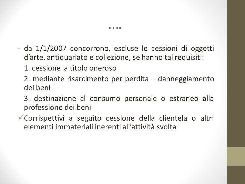 …. - da 1/1/2007 concorrono, escluse le cessioni di oggetti d'arte, antiquariato e collezione, se hanno tal requisiti: 1. cessione a titolo oneroso 2.