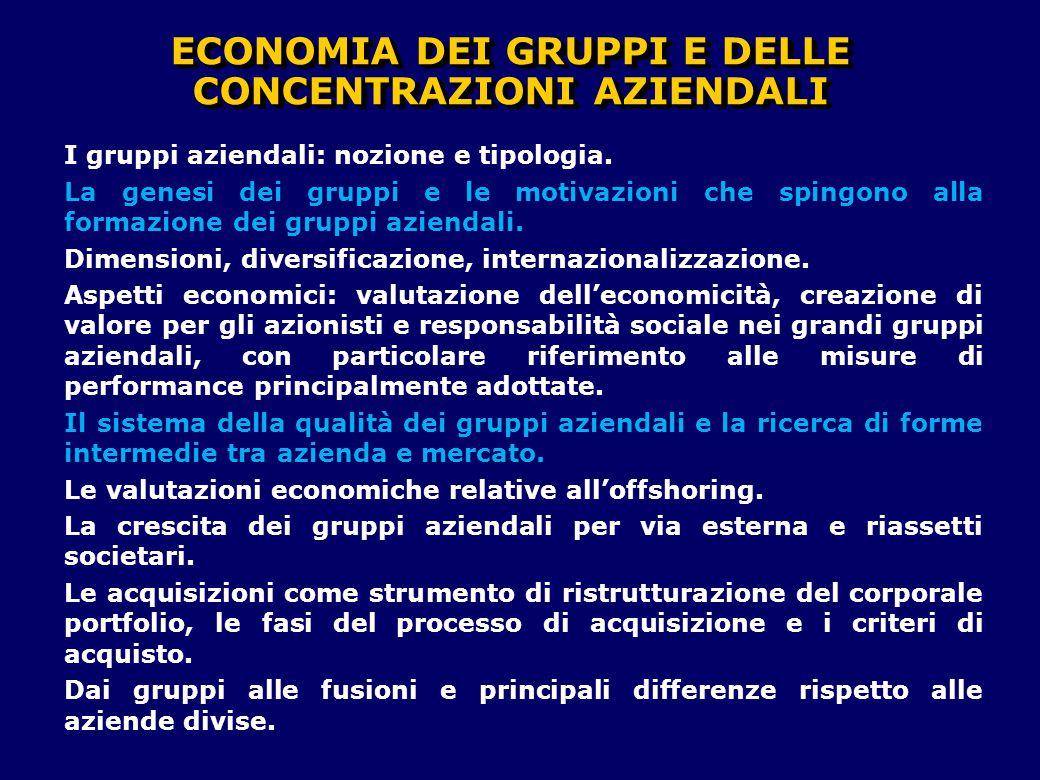 I gruppi aziendali: nozione e tipologia. La genesi dei gruppi e le motivazioni che spingono alla formazione dei gruppi aziendali. Dimensioni, diversif