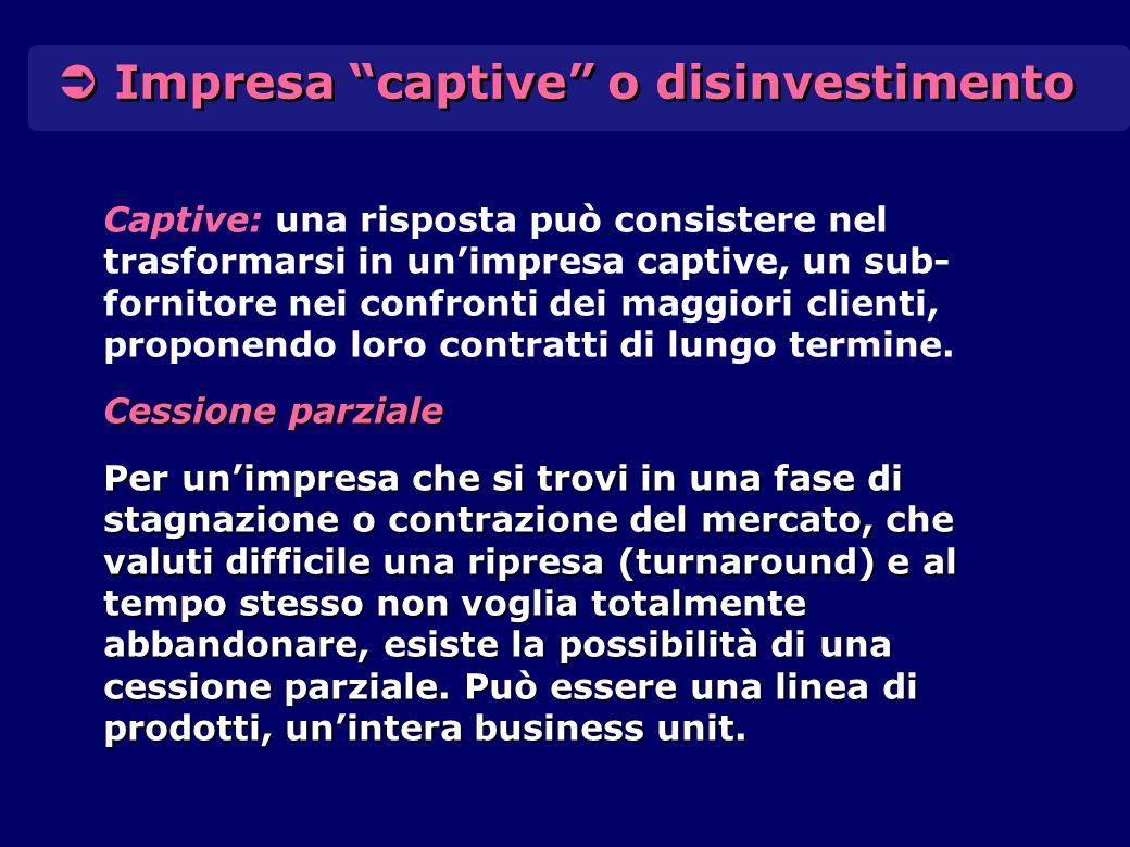 """ Impresa """"captive"""" o disinvestimento Captive: una risposta può consistere nel trasformarsi in un'impresa captive, un sub- fornitore nei confronti dei"""