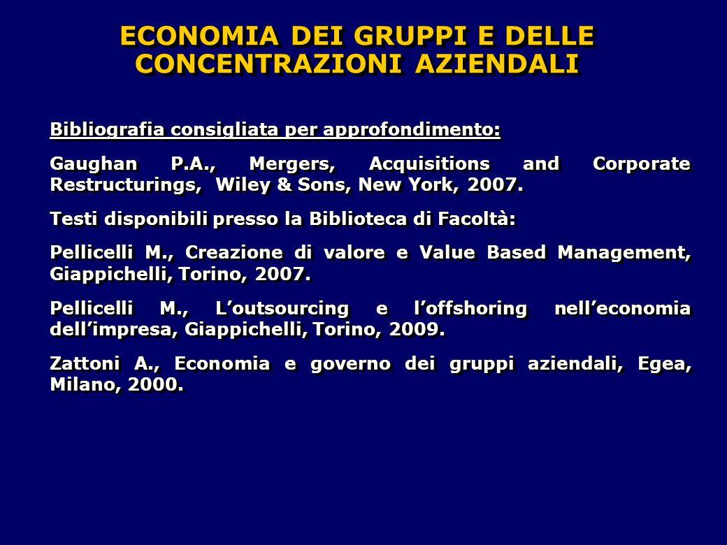 Bibliografia consigliata per approfondimento: Gaughan P.A., Mergers, Acquisitions and Corporate Restructurings, Wiley & Sons, New York, 2007. Testi di