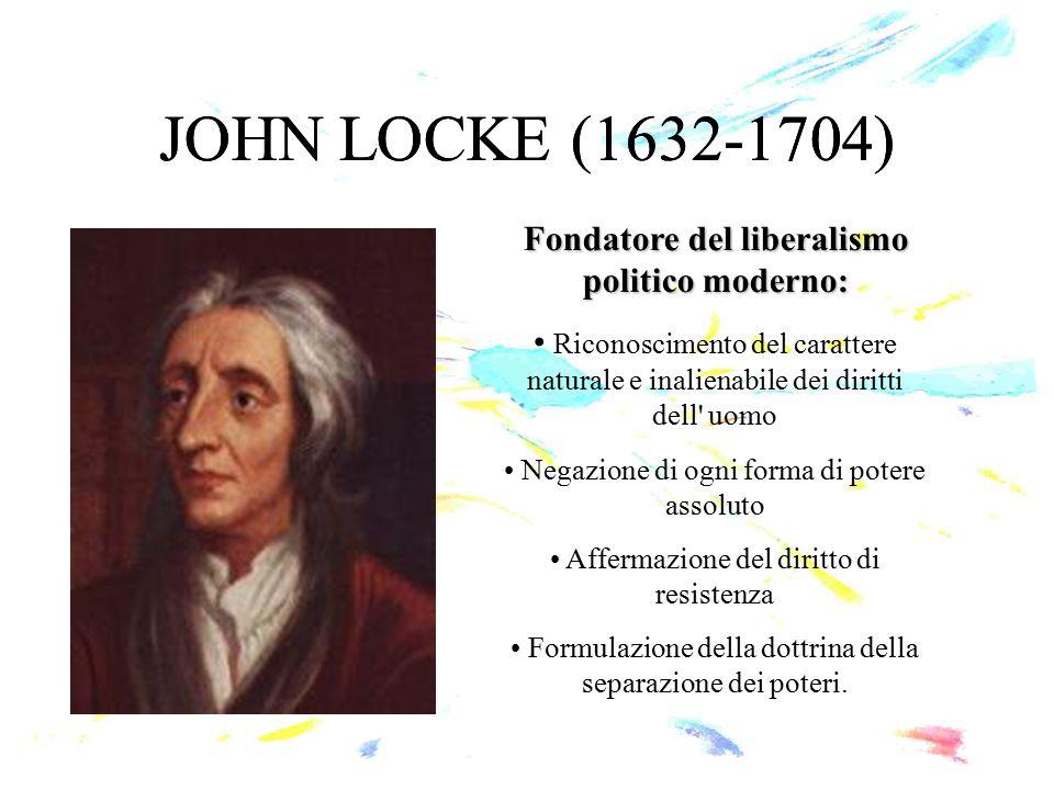 JOHN LOCKE (1632-1704) Fondatore del liberalismo politico moderno: Riconoscimento del carattere naturale e inalienabile dei diritti dell' uomo Negazio